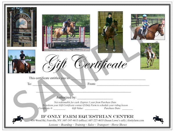 Gift certificates if only farm equestrian center give your favorite rider a gift they will love yadclub Choice Image